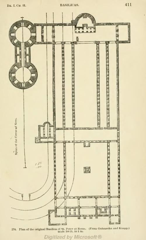 small resolution of plan of the original basilica of st peter at rome from gutensohn and knapp scale l00 ft to 1 in