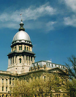 The dome on the Illinois State Capitol in Spri...