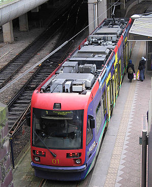 A Midland Metro tram at Snow Hill
