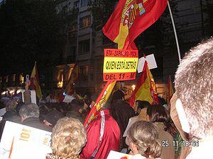 Español: Pancarta en la manifestación convocad...