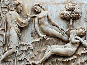 English: Genesis : Creation of Eve; marble rel...