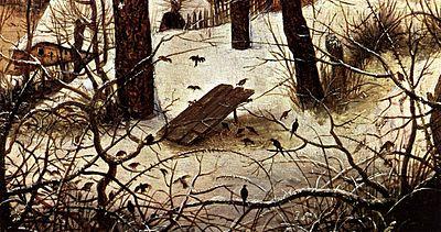 Paesaggio invernale con pattinatori e trappola per uccelli