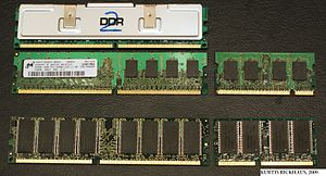 English: RAM memory modules. TOP L-R, DDR2 wit...