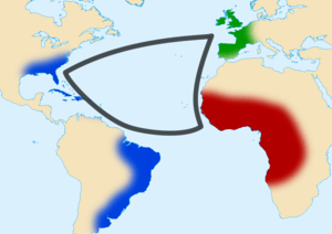 English: Triangular trade between western Euro...