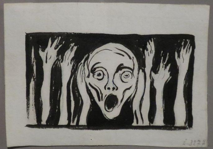 'The Scream', undated drawing Edvard Munch, Bergen Kunstmuseum