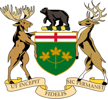 English: coat of arms of Ontario Crest: Upon a...