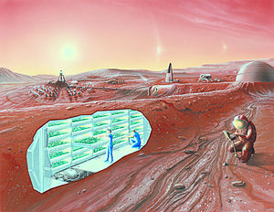 Artist impression of a Mars settlement with cu...