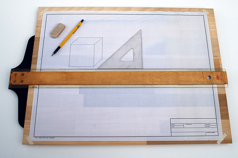 File:Drafting board with T Square.jpg