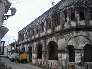 English: building under repair in Galle fort i...