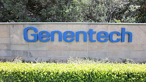 A sign at Genentech headquarters in South San ...
