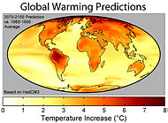 predicted distribution of temperature change due to global warming from Hadley Centre