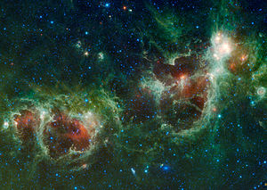 The Heart and Soul nebulae are seen in this in...