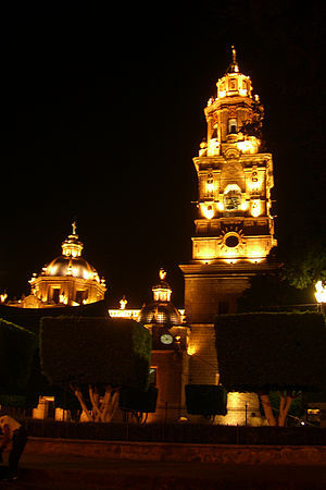 Cathedral of Morelia (Michoacán, Mexico) by night