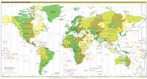 English: Timezones in the world since Septembe...