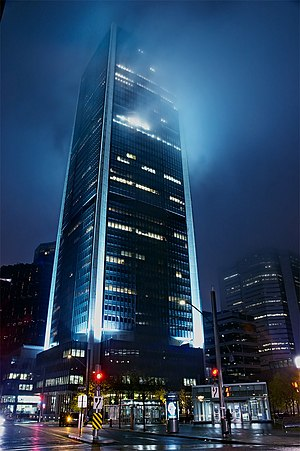 The Montreal Exchange tower at night.