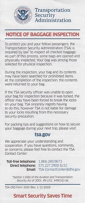 Transportation Security Administration: Notice...
