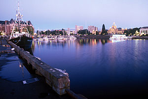 Inner harbour, downtown Victoria, BC, Canada. ...