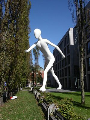 Walking man in Munich-Schwabing