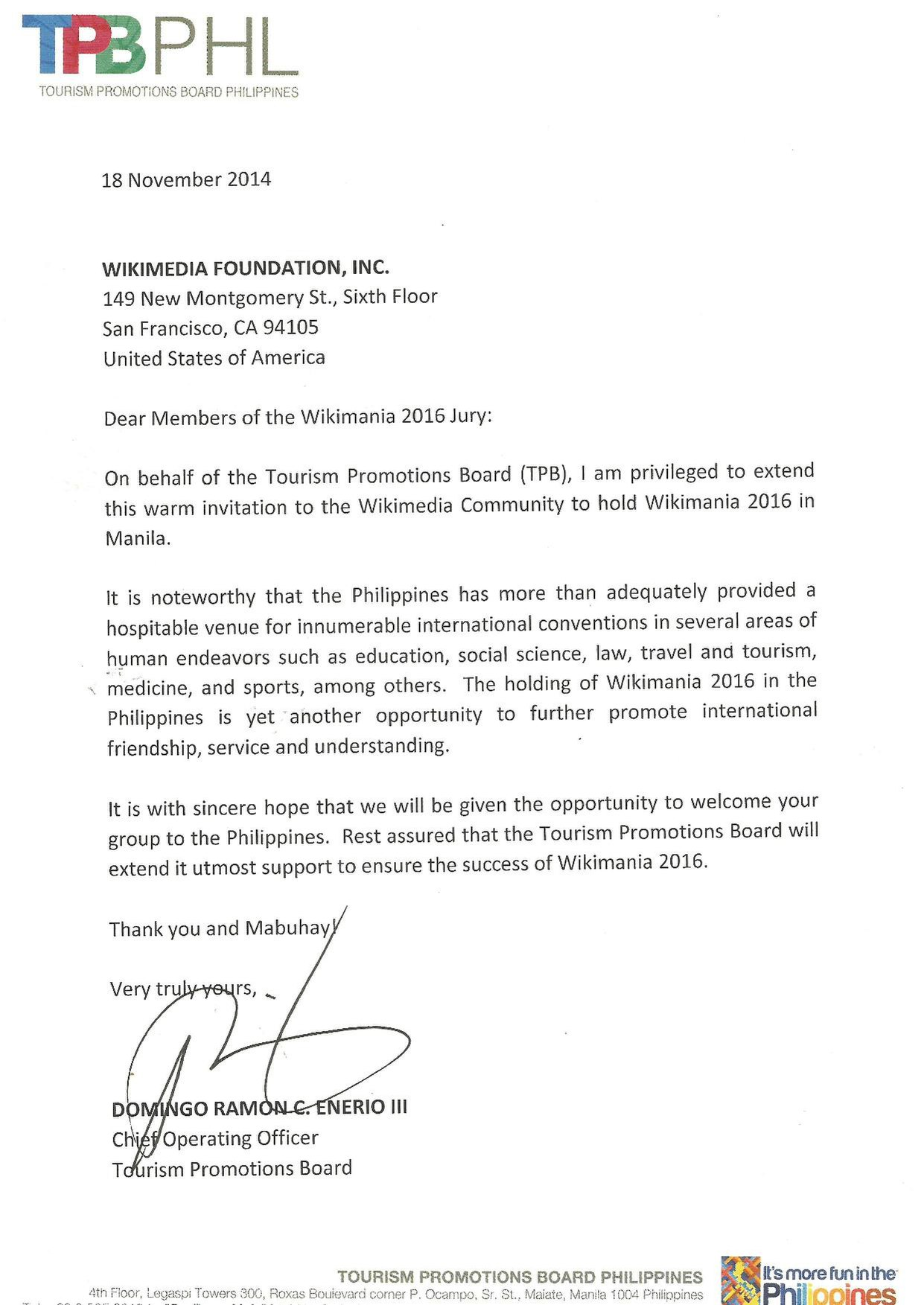 File Wikimania Manila 2016 Endorsement Letter Tourism