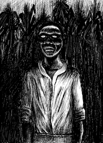 A Haitian zombie at twilight in a field of sugar cane.
