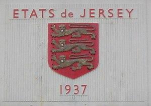 États de Jersey and arms on the original termi...