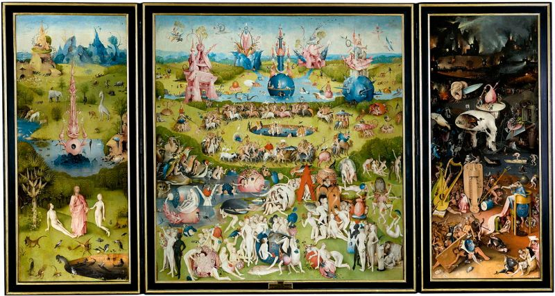 Hieronymus Bosch, The Garden of Earthly Delights, oil on oak panels, 220 cm × 389 cm (87 in × 153 in), Museo del Prado, Madrid