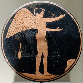 Eros. Attic red-figure bobbin, ca. 470 BC–450 BC.