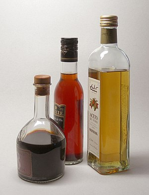 Balsamic vinegar, red and white wine vinegar