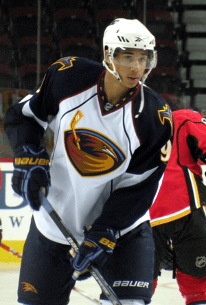 Atlanta Thrashers forward Evander Kane prior t...