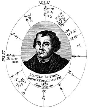 English: Horoscope drawn for the birth of Mart...
