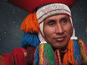 A Cuzco native participates in a live natitivi...