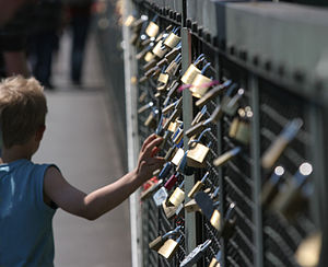 Love padlocks at the Hohenzollernbrücke in Cologne