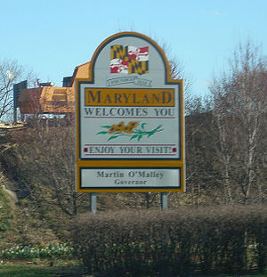 Maryland state welcome sign, along Interstate ...
