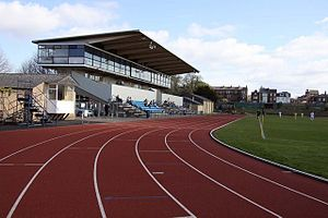 The Grandstand at the Roger Bannister running ...
