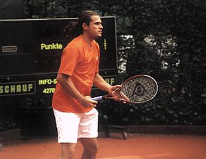 The German tennis player Tommy Haas at the pub...