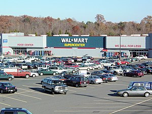 Exterior of a Wal-Mart Supercenter, an archety...