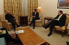 Ahmadzai with Rajiv Shah and Karl W. Eikenberry