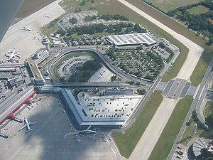 Aerial view of Berlin-Tegel International Airport.