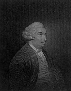 An engraving of Scottish philosopher David Hum...