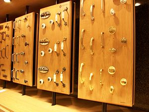 English: Cabinet hardware on display in a home...