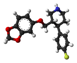 Ball-and-stick model of the paroxetine molecul...