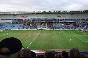 English: Ricoh Arena, Coventry, England, durin...