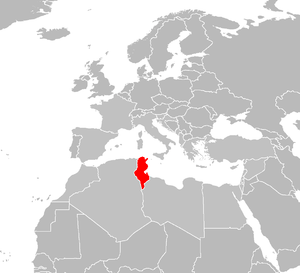 locator map for Tunisia
