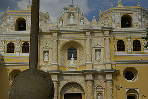 Facade of La Merced Church in Antigua Guatemala