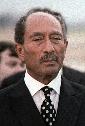 English: President Anwar Sadat of Egypt upon h...