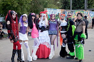 A group of cyber-goths at a festival