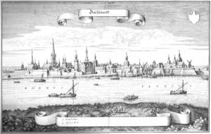 """Kupferstich der Stadtansicht Düsseldorfs von Matthäus Merian. Veröffentlicht in """"Topographia Germaniae"""", Band """"Topographia Westphaliae"""" von 1647."""