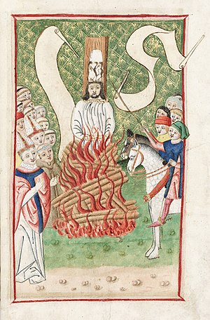 Jan Hus being burnt at the stake |  Image via Wikipedia