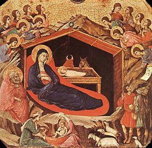 Nativity from Duccio's Maestá, 13th century, a...