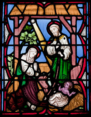 Detail of a stained glass window in the west a...